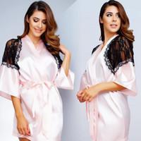 Wholesale Bathrobes For Cheap - Short Pink 2017 Bridesmaid Bride Robes Custom Made Silk Satin Bathrobe Wedding Party Robe For Women Cheap Lace Sleepwear