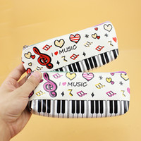 Wholesale Music Pencil Cases - The Piano Pen Bag Music stylus Pencils Box Single Cases For School Multifunction Rainbow Zipper Package Makeup Cosmetic Packet