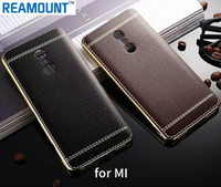 Wholesale Note2 Bumper - Fashion PU Leather Shock-Absorption Bumper Hybrid Slim Fit Plating Rubber Silicone Back Case Cover for red mi note2 note 3 note 4