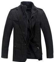 black label products - Wool woolen cloth suits Male label Autumn outfit product Fake two men wool suit BLACK