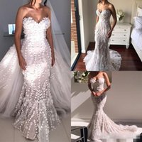 Wholesale Mermaid Handmade Flower Sweetheart - Gorgeous Handmade Flowers Wedding Dresses Mermaid Long Detachable Train Sweetheart Neckline Bridal Gown Vestido de novia Beading
