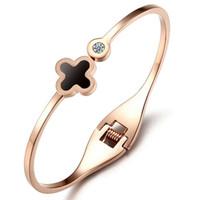 Wholesale Titanium Handle Bar - Titanium Steel Bracelet Fortress Clover Stainless Steel Bracelet Rose Gold Handle Female diamond bracelet fashion jewelry free shipping