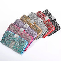 Wholesale Handmade Bling Phone Covers - Handmade Bling Rhinestone Cases Full Diamond Phone Wallet PU Flip Leather Cover Case For Apple iPhone 5s 6 6S 6s plus 7 7plus