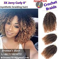 Wholesale Ombre Hair Extensions For Wholesale - New Freetress Jamaican Bounce Marlybob Kinky Curly Marley bob Hair Extensions 8Inch Havana Mambo Twist ombre grey Crochet for black women
