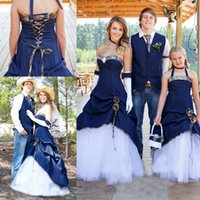 Wholesale Cowboy Sexy Flower - 2017 Modern Cowboy Blue Outdoor Wedding Dresses A Line Sweetheart Draped Lace Up Back Bridal Gowns Elegant Custom