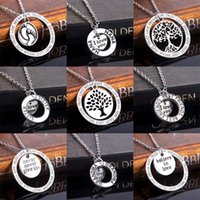 Wholesale Heart Bff Necklaces - Wholesale-Heart I Love You NANA Sister Daugther Mom Best Friends BFF Heart Tree Of Life Footprint Silver Family Pendant Necklace Collier