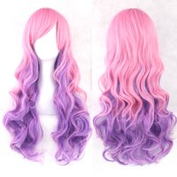 peruca completa Soowee 70cm Long Curly Pink Blue Green Colorful Synthetic Hair Full Party Hairpiece Cosplay Wigs