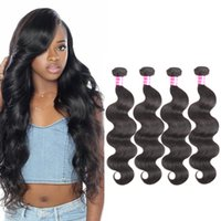 Wholesale 28 Inch Human Hair Cheap - Peruvian Body Wave Hair Bundles Brazilian Malaysian Indian Mongolian Raw Virgin Hair Bundle Sale 4 pcs lot Dyeable Cheap Human Hair Weave