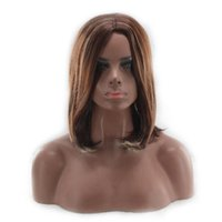 Acheter Women S Short Wigs-New Fashion Women's Short Brown Blonde Natural Straight Cosplay Hair Full Perruques Femmes Black Ombre Blonde Straight Short Bob Cheveux Synthétiques
