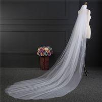 örtü tabakası 3m toptan satış-2017 Yeni Varış Beyaz Fildişi 3 M Gelin Veils Toptan Katedrali Uzun Düğün Aksesuarları İki Katlı Kesim Ege Basit Desin Düğün Veils