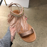 2017 Summer New Women Sandals 2017 Chaussures de mode Bohemia Chaussures Femme Ankle Diamond Feather Strap Sandalias Flat Satin Sandal Chaussures de plage