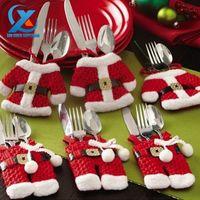 Wholesale Black Santa Ornaments - Wholesale- 6Pc lot Cute Santa Claus Christmas Decorations Silverware Holders Pockets Dinner Table Decor Super Value Package Fast Shipping