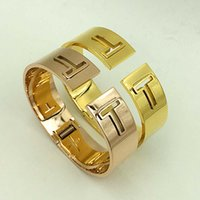Wholesale Top Charm Bracelet Brands - Top quality 316L Stainless Steel Brand Charm Bracelets & Bangles for women hollow double T shape in rose gold jewelry never fade PS4736