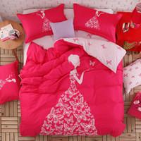 Wholesale Girls Pink Duvet - Wholesale-Pink color girls bedding set 4pcs or 3pcs for queen twin size double bed duvet cover bedsheet pillowcase bed quilt 100%cotton