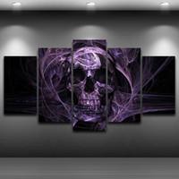 abstrakte schädelmalereien großhandel-Unframed 5 Stücke Modern Home dekorative Gemälde Mode Wandkunst Abstrakte Schädel Malerei Für Wohnzimmer Einzigartiges Geschenk