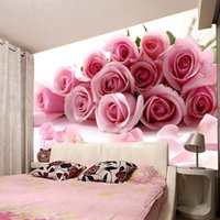 Wholesale Roses Wallpaper Home Decor - New photo love waterproof Modern fashion office living room bedroom wedding room pink red roses Customized art Mural 3d wallpaper home decor