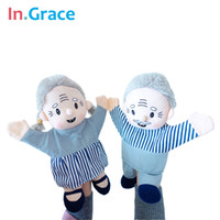Wholesale Couple Gloves - Wholesale-In.Grace brand lifelike grandpa grandma couple glove puppets for toddler early learning high quality muppet puppets for baby diy