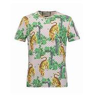 Wholesale Men Fashion Design Shirt - 16514 Fashion Design Brand Men's Casual Cotton tiger print short sleeve T Shirts Slim with tags M-2XL