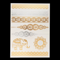 Wholesale Wholesale Temporary Tattoo Paper - Wholesale-1pc Gold Sliver Flash Metallic Inspire Waterproof Tattoo JM-07 Elephant Henna Bracelet Tatuagem Temporary Tattoo Sticker Paper