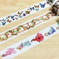 kelebek bant toptan satış-Toptan-2016 30mm * 5 m yüksek kaliteli washi kağıt bant / Güzel Kelebek ve Çiçek merdiven ve Tanrıça maskeleme japonya washi bant