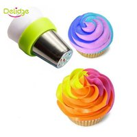 Wholesale Mix Nozzle - Wholesale- 1 pcs 3 Holes Icing Piping Bag Nozzle Converter Fit To Russian Nozzle Mix 3 Colors Cake Decoration Converter Nozzle For Cupcake