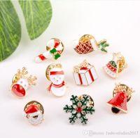 Wholesale Jingle Bell Brooch Pin - 3 Styles Creative Cartoon Christmas Brooches Cute Santa Claus Jingle Bells Socks Donuts Candy Enamel Pins XMAS Jacket Badges Brooch B645