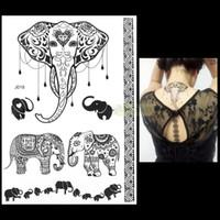 Wholesale Temporary Tattoo Ink Wholesale - Wholesale-1PC Fashion Flash Waterproof Tattoo Women Black Ink Henna Jewel Sexy Lace BJ018 Elephant Wedding Henna Temporary Tattoo Sticker