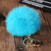 Wholesale Plush Handbag Woman - fluffy keychain Puff ball 8cm Solid Color Rabbit Fur Ball Keychains Handbag Key Ring Car Key