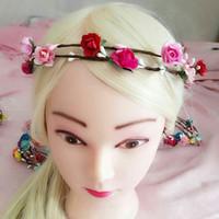 künstliche haare für bräute großhandel-künstliche Girlande Papier Blumen Girlanden Braut Haarschmuck Braut Stirnbänder Hochzeit Kopfschmuck für Braut Kleid Kopfschmuck Zubehör
