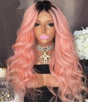 Wholesale Two Tone Colored Wigs - Ombre pink lace front wigs 100 brazilian virgin hair loose wave two tone pink colored human hair wigs free shipping