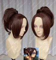 Wholesale Hanji Cosplay - ePacket free shipping>Attack on Titan Hanji Zoe Chocolate Colour Styled Cosplay Party Wigs