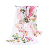 Wholesale Free Butterfly Prints - Factory Wholesale Silk Chiffon Scarf Women Long Scarves 2017 New Butterfly Animal Printe Sarong Wrap Beach Cover 160*50cm DHL Free