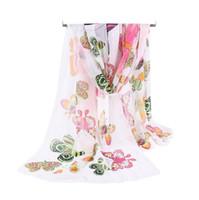 echarpe femme beach sarong achat en gros de-Usine En Gros De Soie En Mousseline De Soie Écharpe Femmes Longues Foulards 2017 Nouveau Papillon Animal Printe Sarong Wrap Beach Cover 160 * 50 cm DHL Gratuit