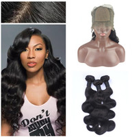 Wholesale silk based weave frontal closure for sale - Group buy 8A Silk Base Lace Frontal Closure With Bundles Body Wave Malaysian Virgin Human Hair Weaves With Silk Top Frontals