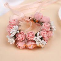 Wholesale wrist corsage pink - Wedding Flower Romantic Bridal Wrist Corsage Children's Garlands New Foam Fruit Bridesmaid Artifical Wedding Flowers Bridal Wrist Corsage
