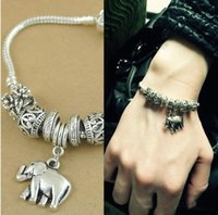 Wholesale Crystal Elephant Cuff Bracelet - Fashion vintage antique Silver Tibetan Chain Elephant Bracelet Trunk Cuff Bangle Crystal Beads Jewelry Women Xmas New Year Gift