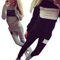 Wholesale S4 Sleeve - 2 Pieces Set Women Tracksuit Plaid Sweatshirt + Pants Trousers Casual Suit Sweat S4