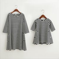 Wholesale Mother Baby Dresses Set - free shipping new fashion summer Family Matching Outfits baby girl and mother one set two pieces cotton Stripe dress wholesale