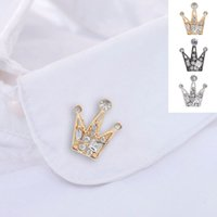 Wholesale Trendy Suits For Women - Trendy Full Rhinestone Miniature Crown Brooch For Men Women Crystal Mini Crown Brooches Pins Suit Shirt Collar Broches
