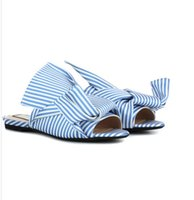 Wholesale Big Toe Slippers - European luxury brand woman flip flops striped slippers big bow design sandals woman stripes bow open toe flip flop 34-40 sandal N5