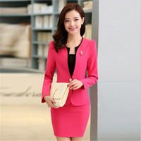 Wholesale Women Working Suits Design - 3XL Women Skirt Suits Candy Color Women Business Suits Office Uniform Designs Women Elegant Work New Fashion Blazer Feminino