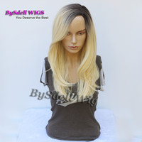 Wholesale Platinum Long Wigs - New Arrival dark root ombre platinum blonde Color Loose Curly Wavy Hair Synthetic Heat Resistant Wigs Long Fringe Side Part