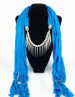 ingrosso legami intrecciati-New Fashion Ethnic Polyester plain weave Tie dye Nail ornament Tassel Pendant Sciarpa Collana Donna color Sciarpe Designers