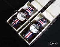 Wholesale White Gold Cheaper - Cheaper Version 40mm White Face Nylon Men Watch + Brown Leather Watch+Manual+Tag