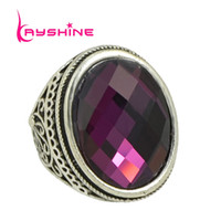 Nouvelle mode Vintage Style Antique Silver Color Big Colorful Natural Stone Ball Ball Finger Rings For Women