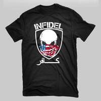 exército de usmc venda por atacado-Infiel Crânio Militar USMC Exército Marinha Da Marinha Vencedor Soldado Trump T Shirt O Pescoço T-shirt Masculino Baixo Preço Steampunk