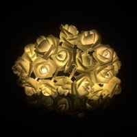 Wholesale Battery Powered Rose Light - Wholesale- 3M 20 pcs LEDs Rose LED String Holiday Night Light Bedroom Indoor Party Decoration Christmas Lighting AA Battery Power Supply