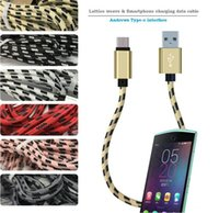 28cm 2A Fast USB Cable Nylon Braided Charge Data USB Câble court pour micro usb Type-C pour Samsung S8