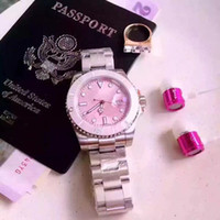 Wholesale quartz japan movement women - NEW Fashion luxury women watch pink dial blue dial steel brand wristwatch Quartz Girl Japan Movement Wristwatch Clock Diamond watches
