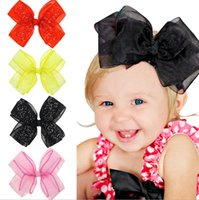 Wholesale Double Gauze Fabric - 2017 Europe and the United States new children bowknot hair clips, girl transparent gauze double bow head ornaments, free shipping